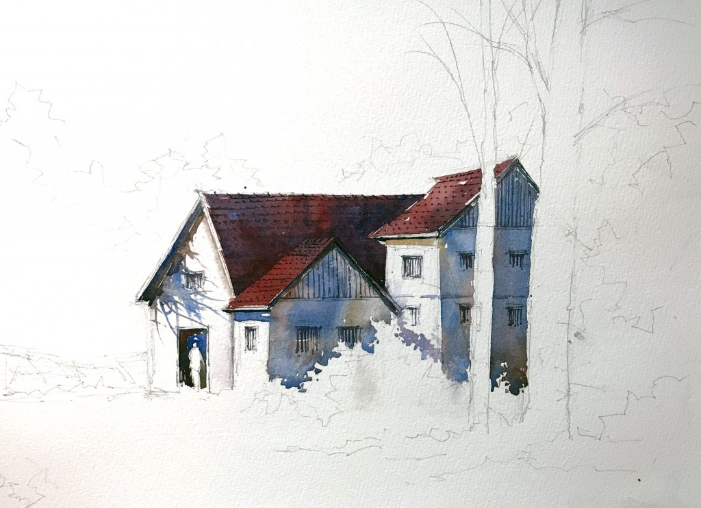 WATERCOLOR TUTORIAL Step 2: Painting A Countryside Mansion by Sujit Sudhi