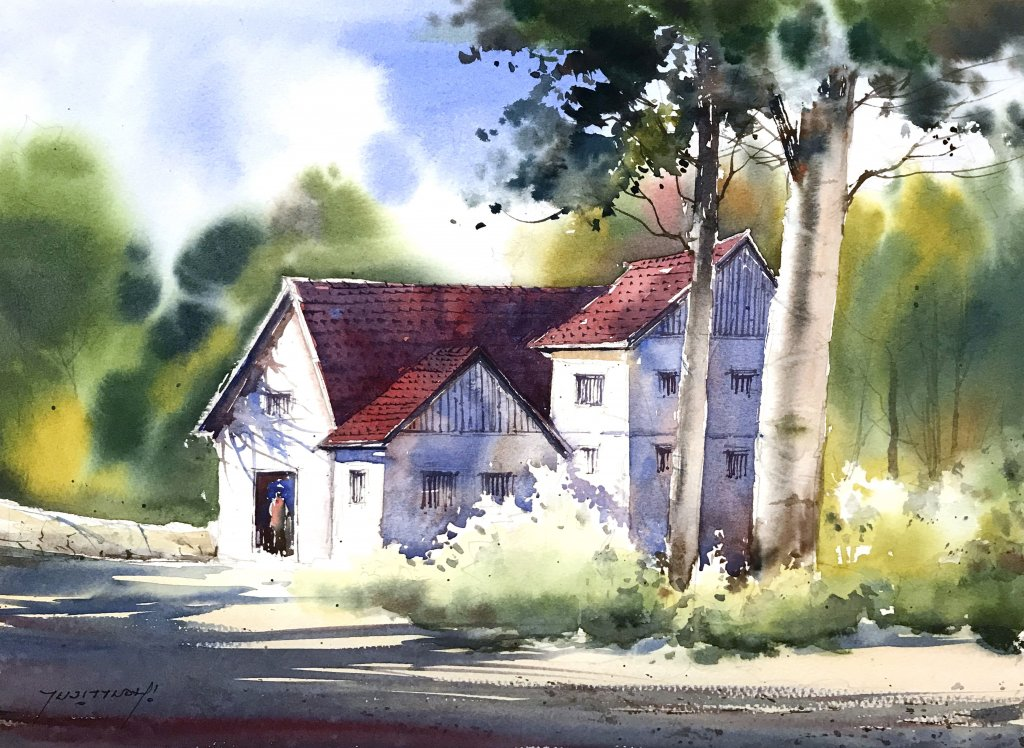 WATERCOLOR TUTORIAL Final Painting A Countryside Mansion by Sujit Sudhi