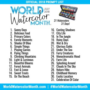 World Watercolor Month 2018 Official Prompt List