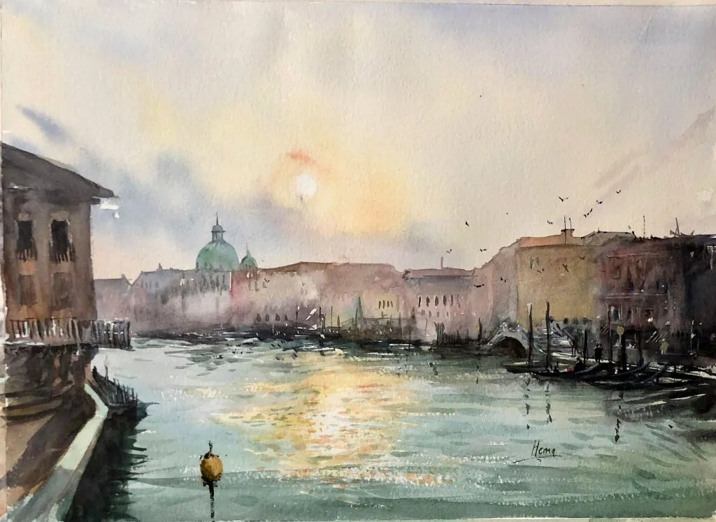 Watercolor Painting by Hema Gupta - Doodlewash #WorldWatercolorGroup