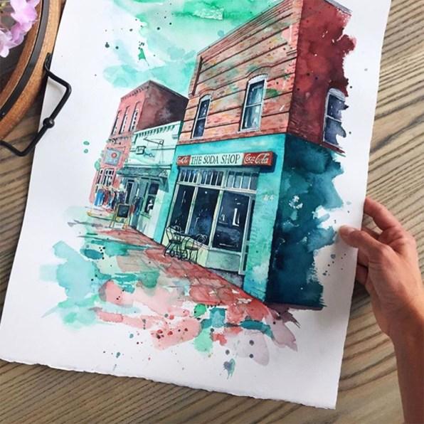 Old Building Davidson, North Carolina Watercolor Esther Moorehead - Doodlewash