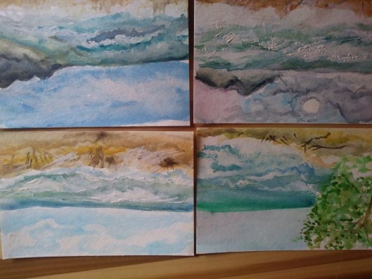 In February we went to Kauai, and I painted postcards of the ocean. In Colorado, we have lakes, stre