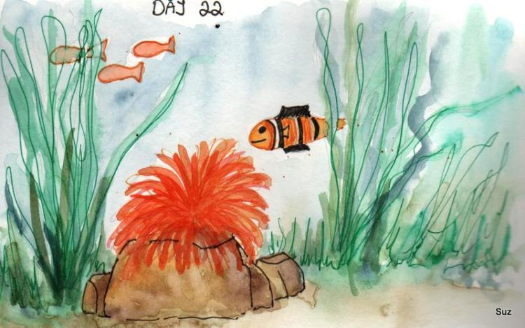 #WorldWatercolorMonth Day 22: Under The Sea I'm posting early as I'll be away without in