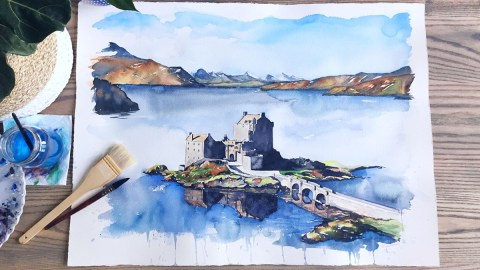 Eileen Donan Castle, Scottish Highlands watercolor Esther Moorehead - Doodlewash