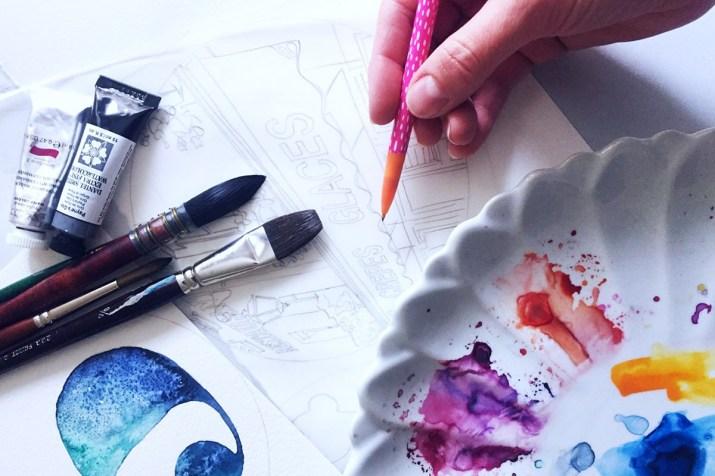 Drawing process watercolor paper Esther Moorehead - Doodlewash