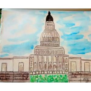 The cover of my accordion sketchbook for my DC trip to the Alternatives Conference. It is a little l