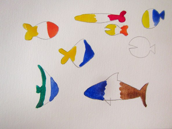 Fish sketches - easy watercolor project for kids - Step 2