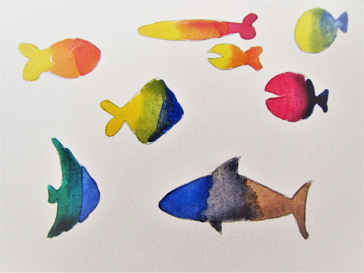 Fish sketches - easy watercolor project for kids