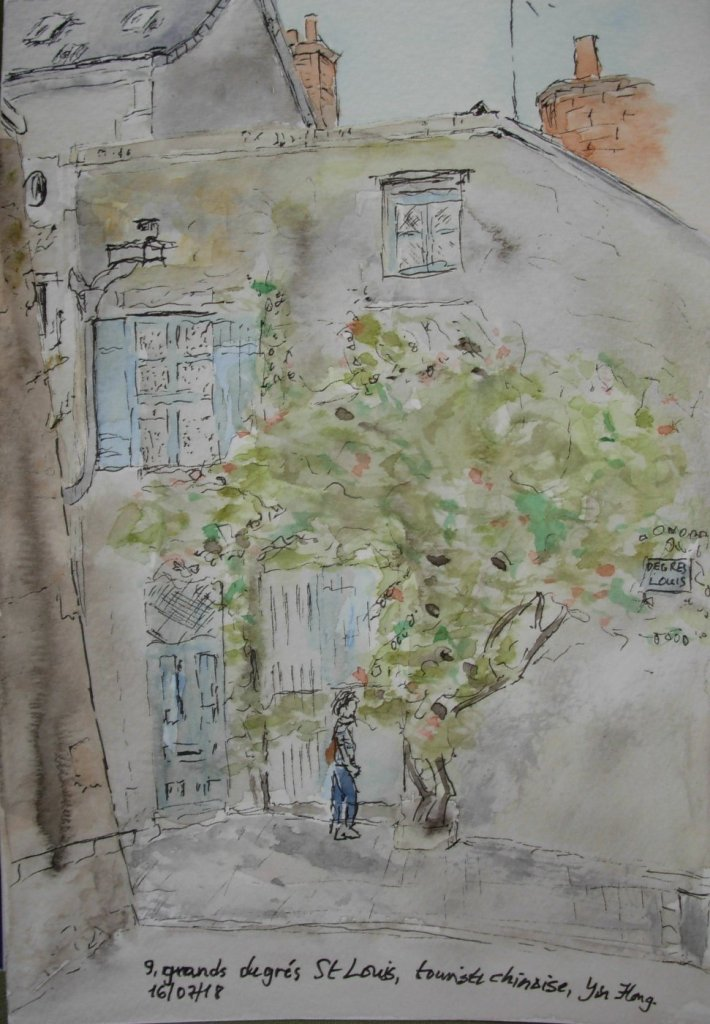 Day 16 Casting shadows. Grands Degrés St Louis, Blois, France. Watercolour and fineliner. DSCN1778