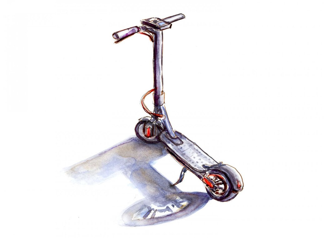 Day 17 - World Watercolor Month City Life Bird Scooter - Doodlewash