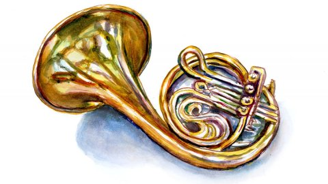 Day 21 - World Watercolor Month Glorious Golds French Horn - Doodlewash