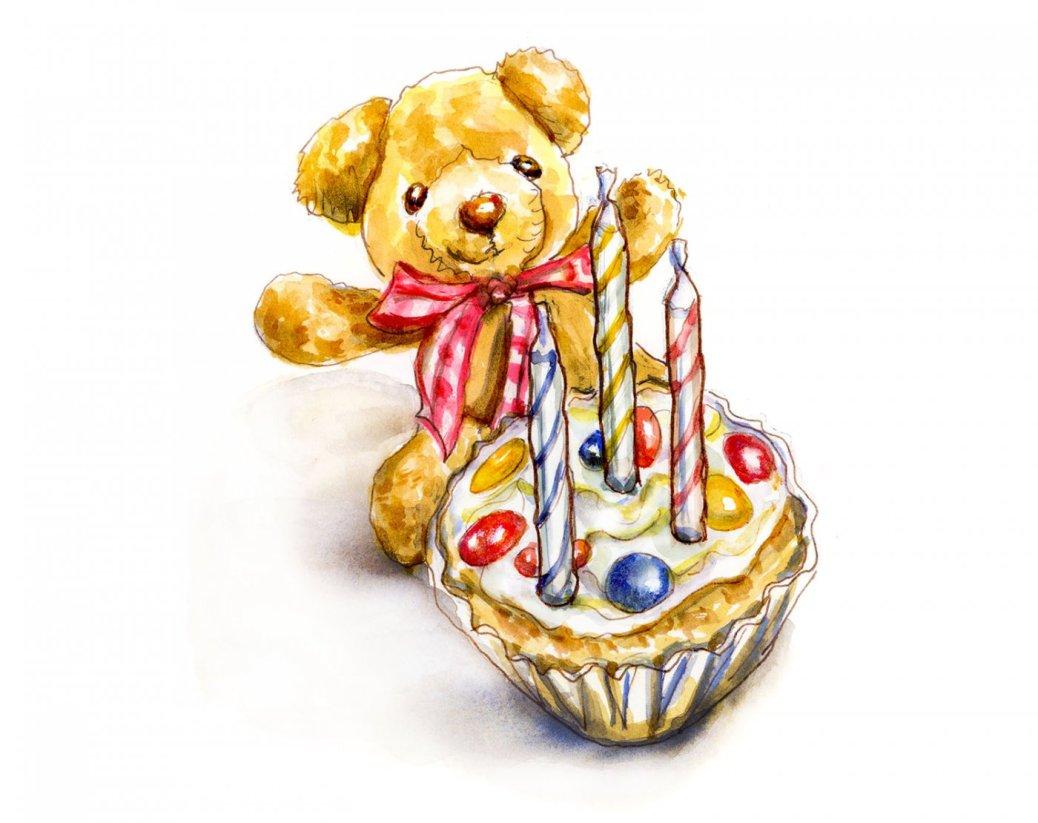Day 3 - Doodlewash Turns Three Cupcake Teddy Bear #WorldWatercolorMonth