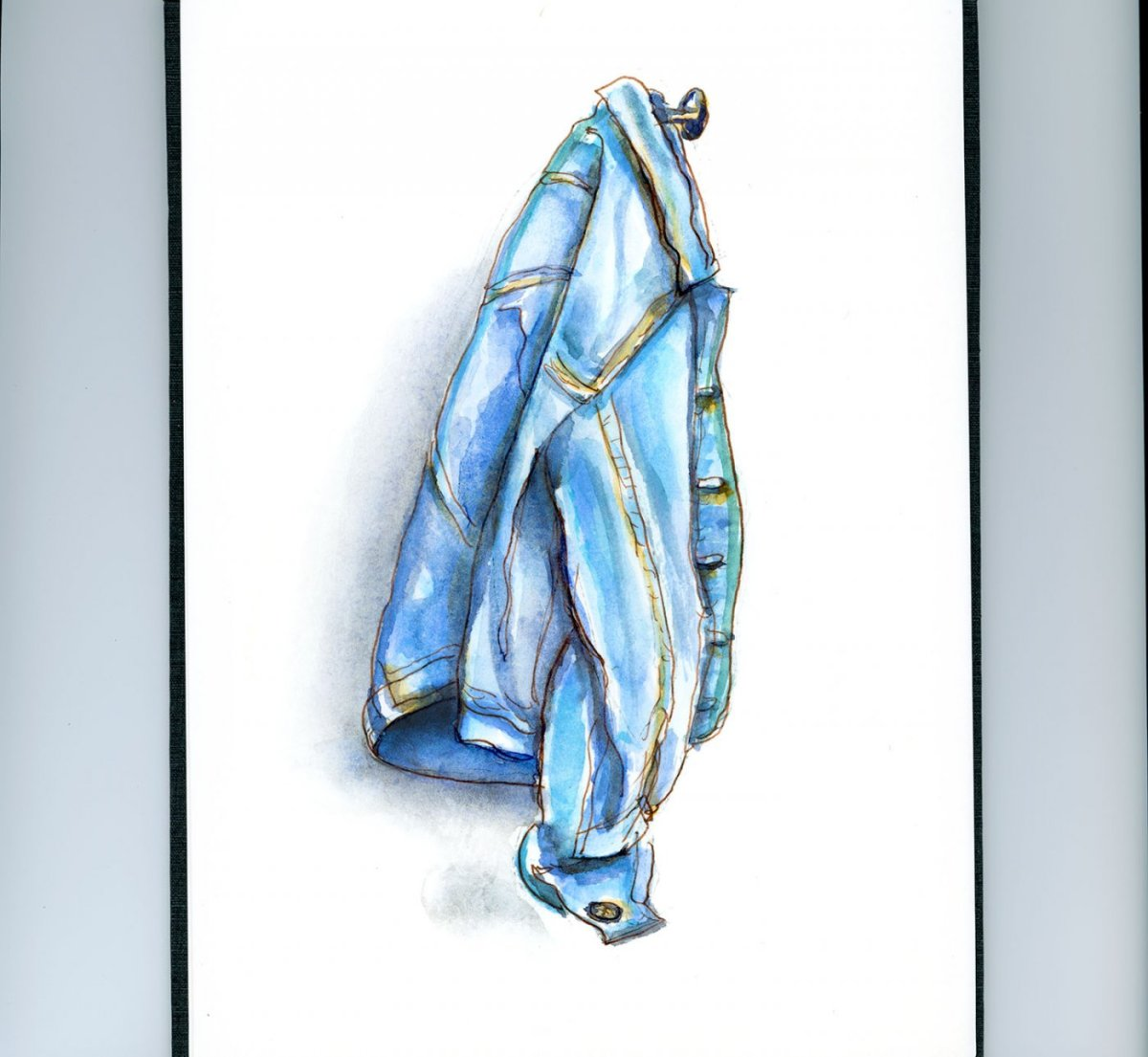 Day 5 - World Watercolor Month Shades of Blue Denim Jacket - Doodlewash