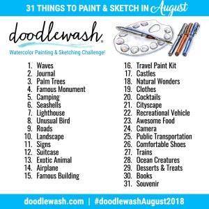 Doodlewash August 2018 Art Challenge Adventure Sketching Prompts
