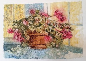 I painted this Geraniums watercolor batik on rice paper, original design is from artist Kathie Georg