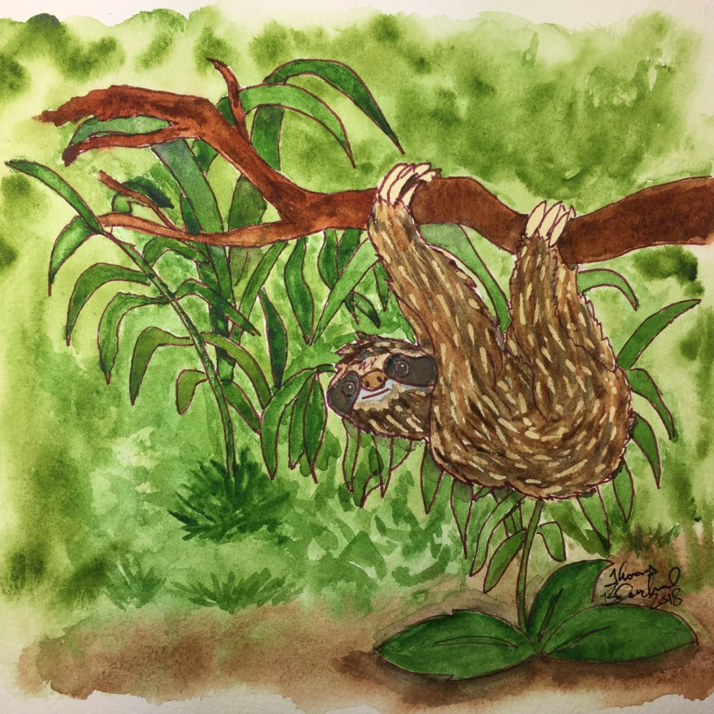 """Day 18 of World Watercolor Month … Prompt – """"In The Jungle"""" … It's Wednesday and I f"""