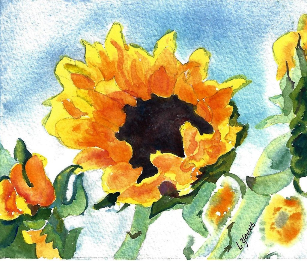 #worldwatercolormonth Day 3 Primary Colors– Red, yellow and blue to create this sunflower pain