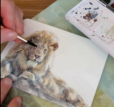 How To Paint A Lion On A Watercolor Postcard Doodlewash Tutorial Pin the clipart you like. how to paint a lion on a watercolor