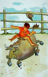"day 3 – ""Ride 'em Cowboy"" – ColourArte watercolors on Hahnemühle Harm"