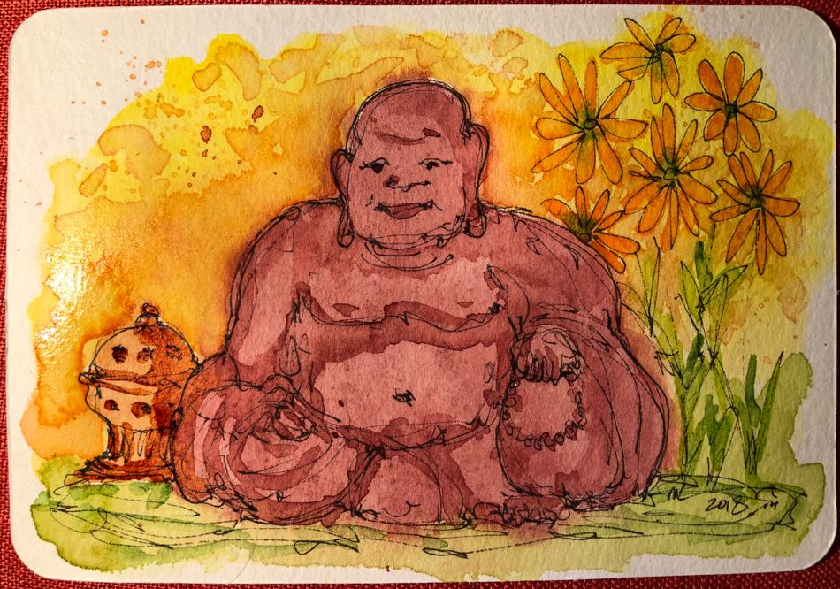 Day 2 World Watercolor Month. Happy Garden Buddha on a Hahnemühle Post Card. https://dkatiepowellar