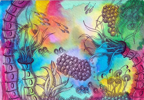 Watercolor Zentangle - Tangle Art - Alice Hendon - Doodlewash