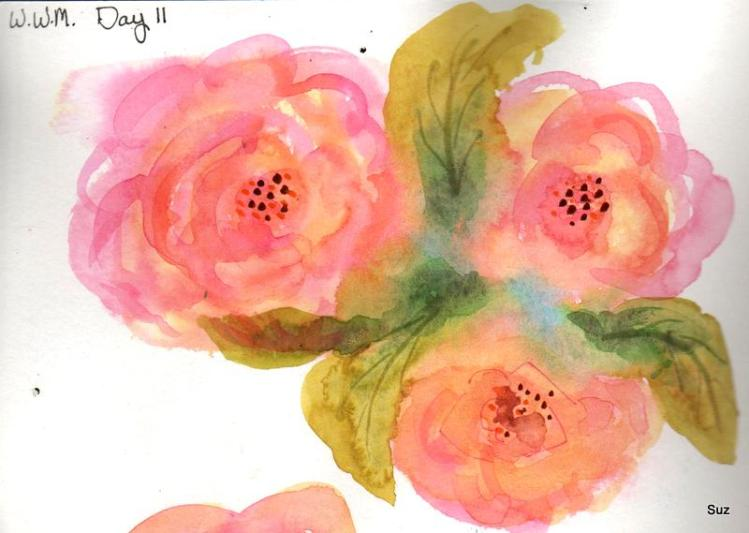 #WorldWatercolorMonth Day 11: Beautiful Blooms Well, sort of……..fast and loose practice.