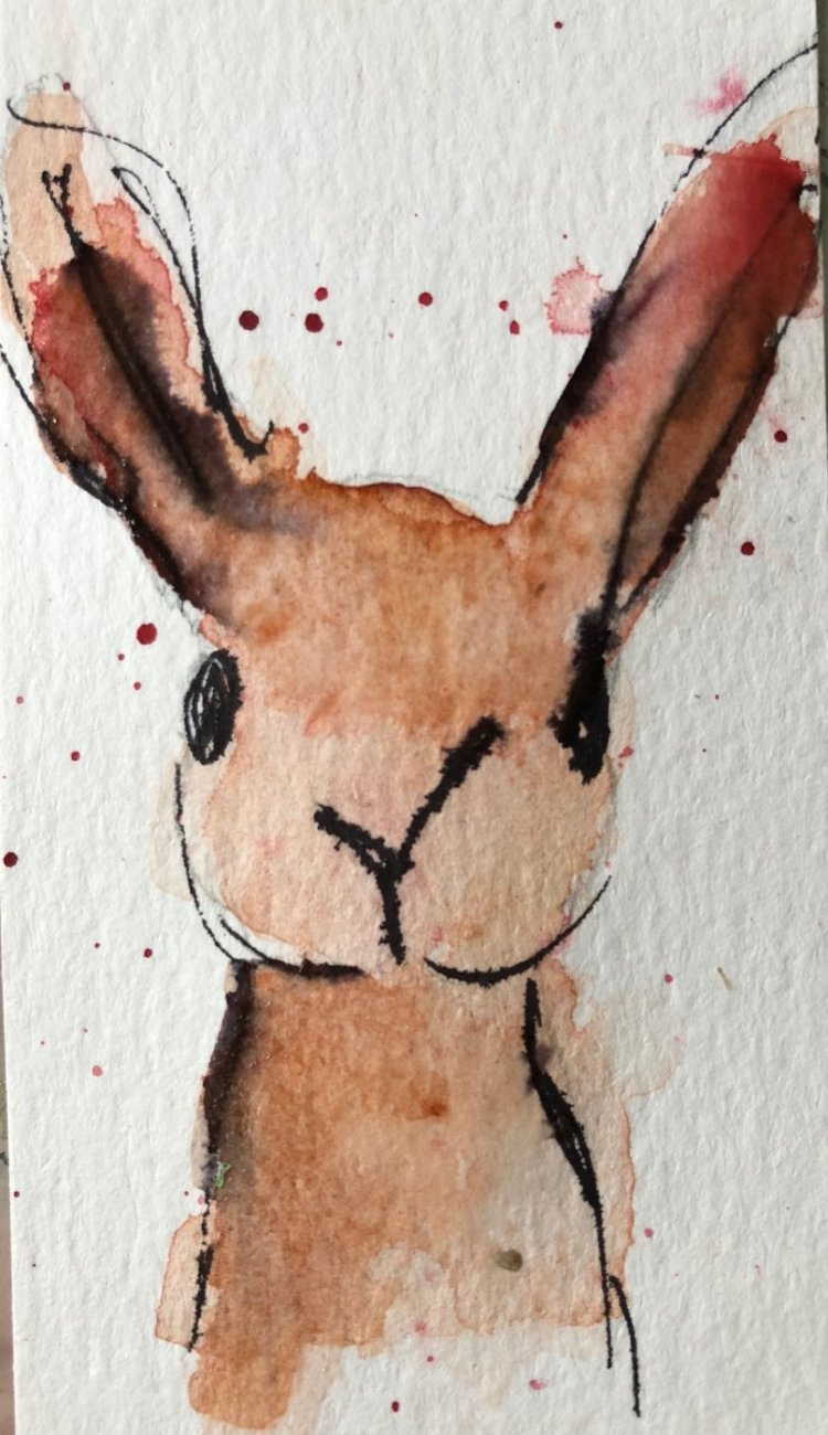 #worldwatercolormonth #day12 #forest animal Lesson learned – wait for paint to dry before dood