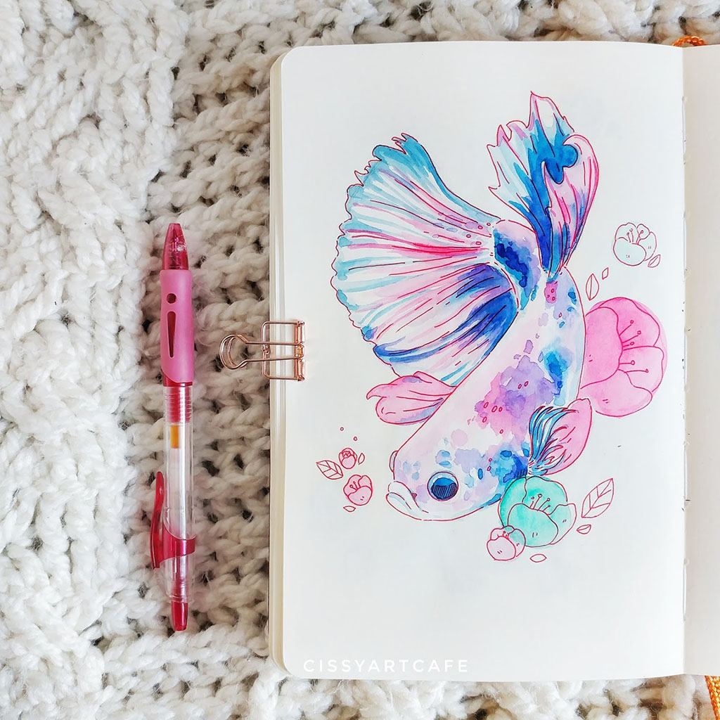 Watercolor Fish by Cecile Lu - Doodlewash