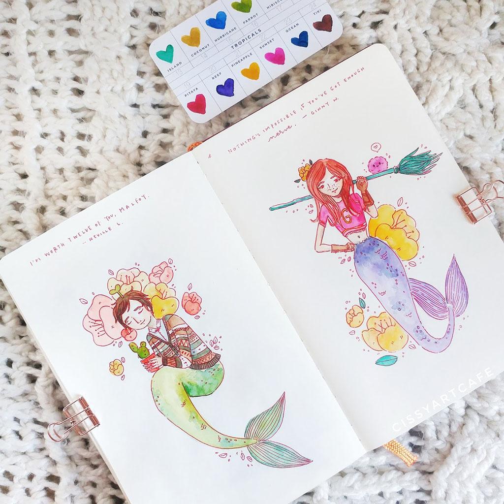 Watercolor Mermaids by Cecile Lu - Doodlewash