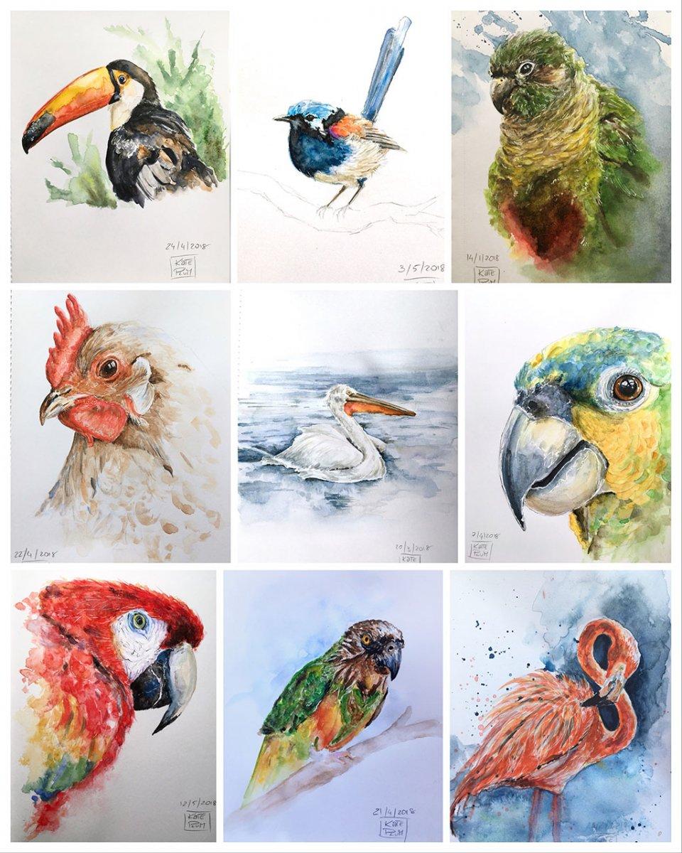 Birds Watercolor Painting by Kate Plum - Doodlewash