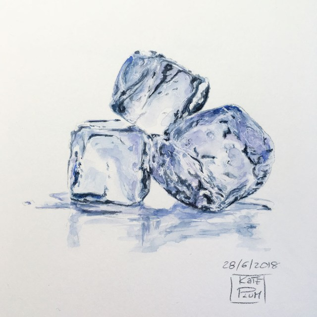 Ice Cubes Watercolor Painting by Kate Plum - Doodlewash
