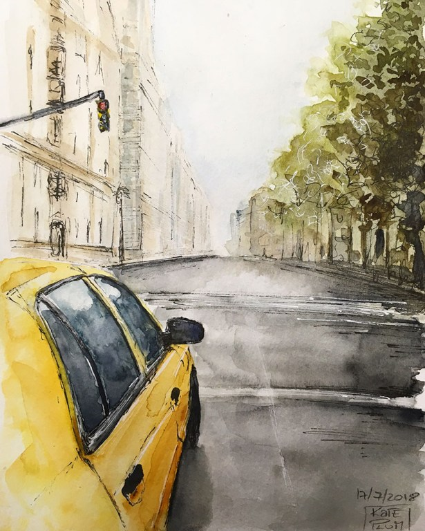 Cityscape With Car Watercolor Painting by Kate Plum - Doodlewash