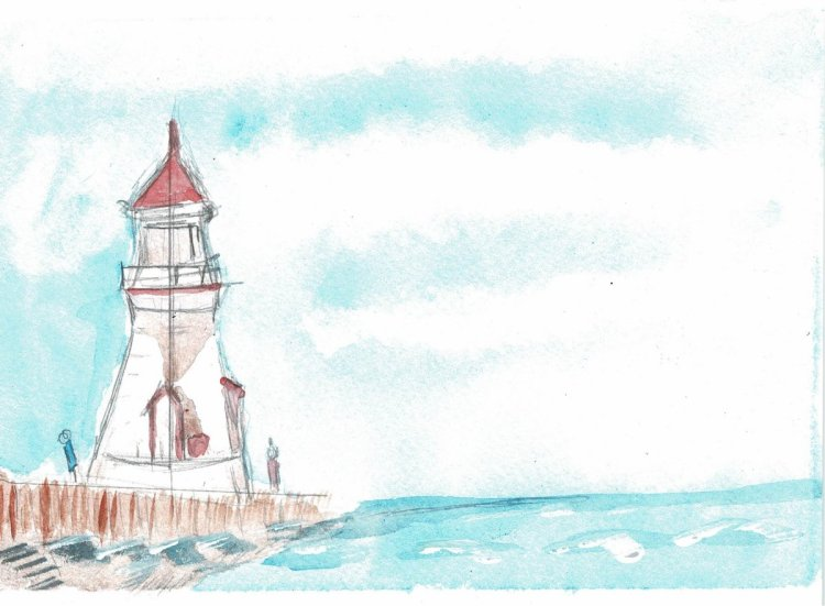 A Lighthouse by Peter Sheeler. My second attempt at this exercise. The picture has more vibrant colo