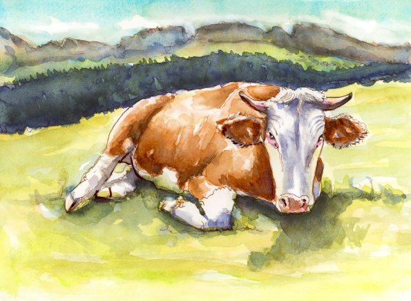 Day 10 - Like A Cow In The Field Watercolor Landscape
