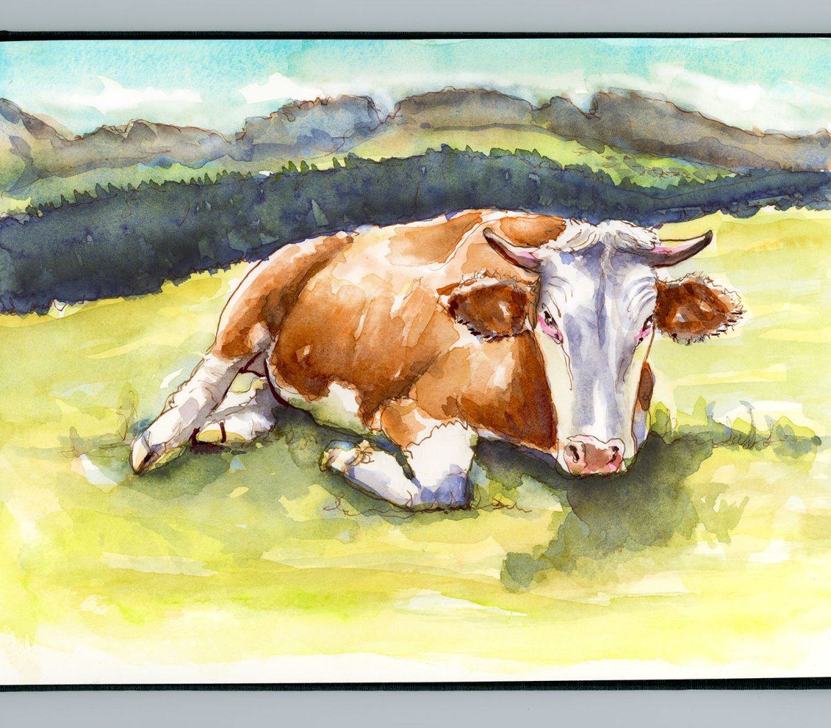 Day 10 - Like A Cow In The Field Watercolor Landscape - Doodlewash