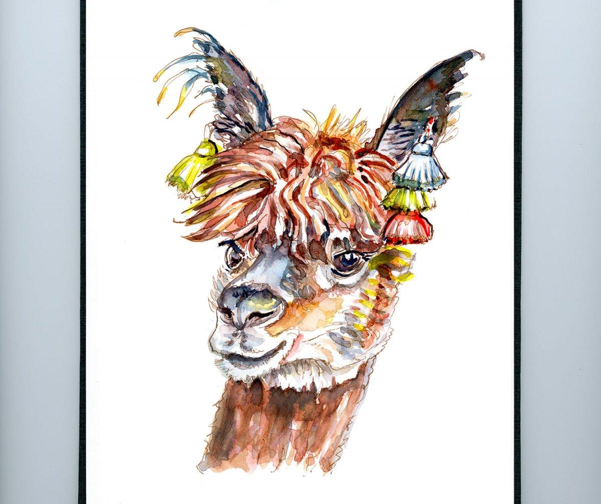 Alpaca Watercolor Portrait - Day 13 - #doodlewashAugust2018 Doodlewash