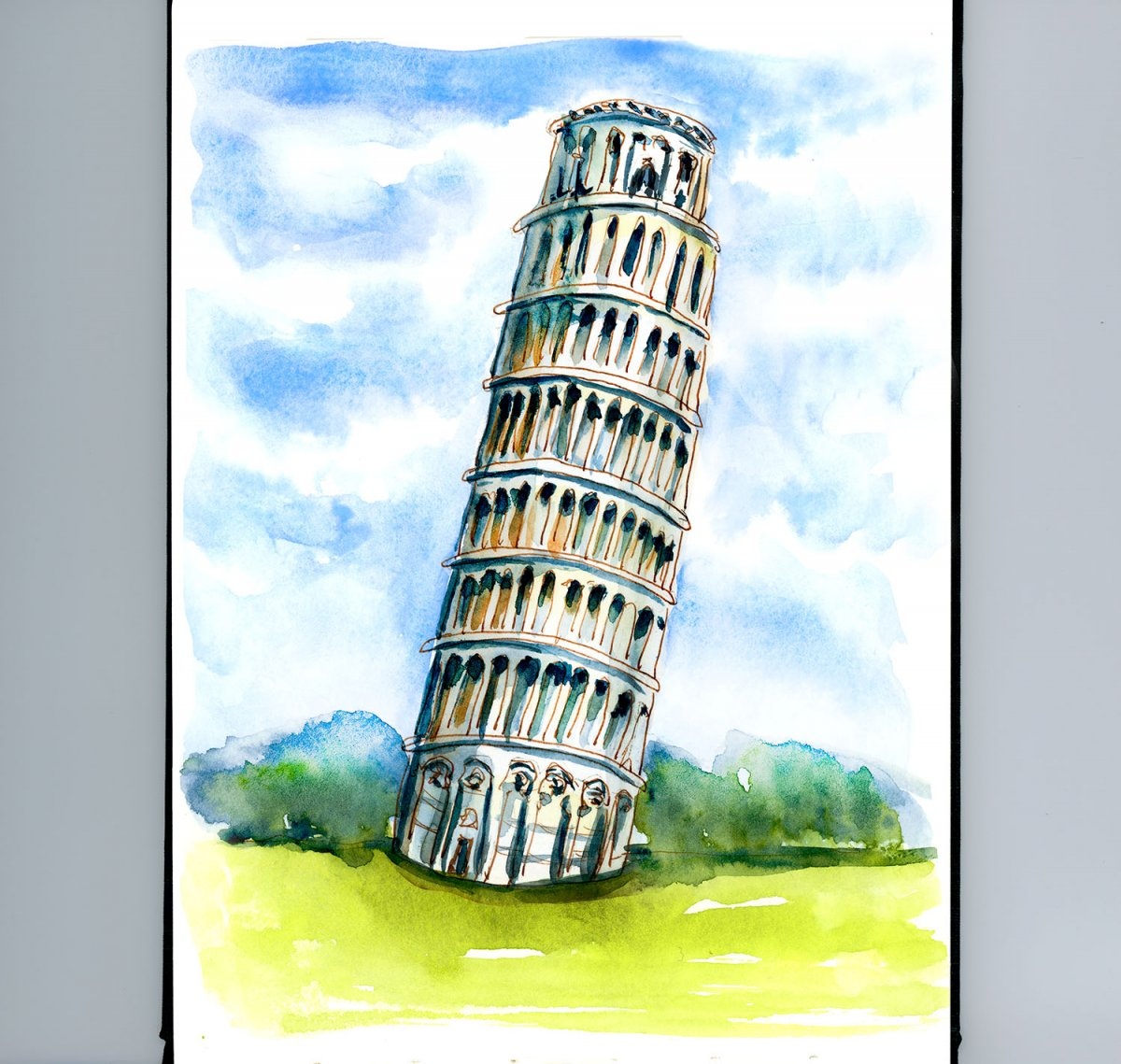Day 15 - Leaning Tower Of Pisa Watercolor - Doodlewash