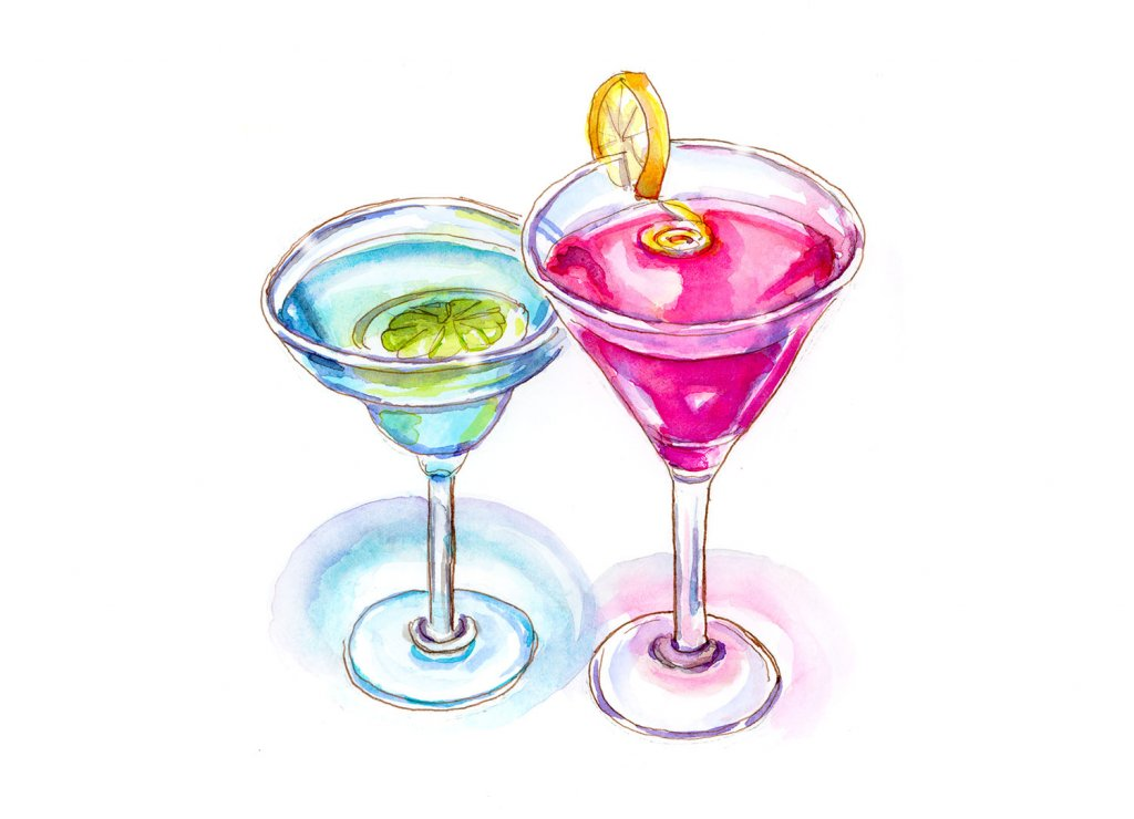 Day 20 - Cocktail Break - Watercolor - Doodlewash