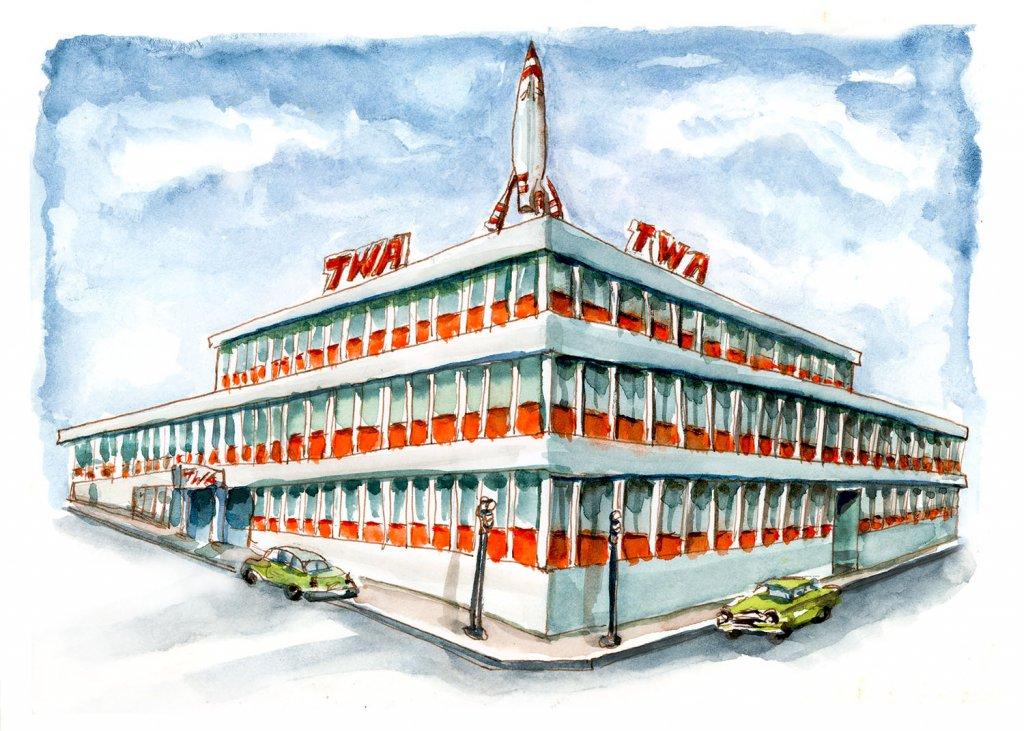 Day 21 - TWA Building Kansas City Watercolor - Doodlewash