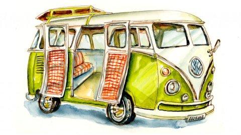 Day 22 - VW Camper Van Illustration - Doodlewash