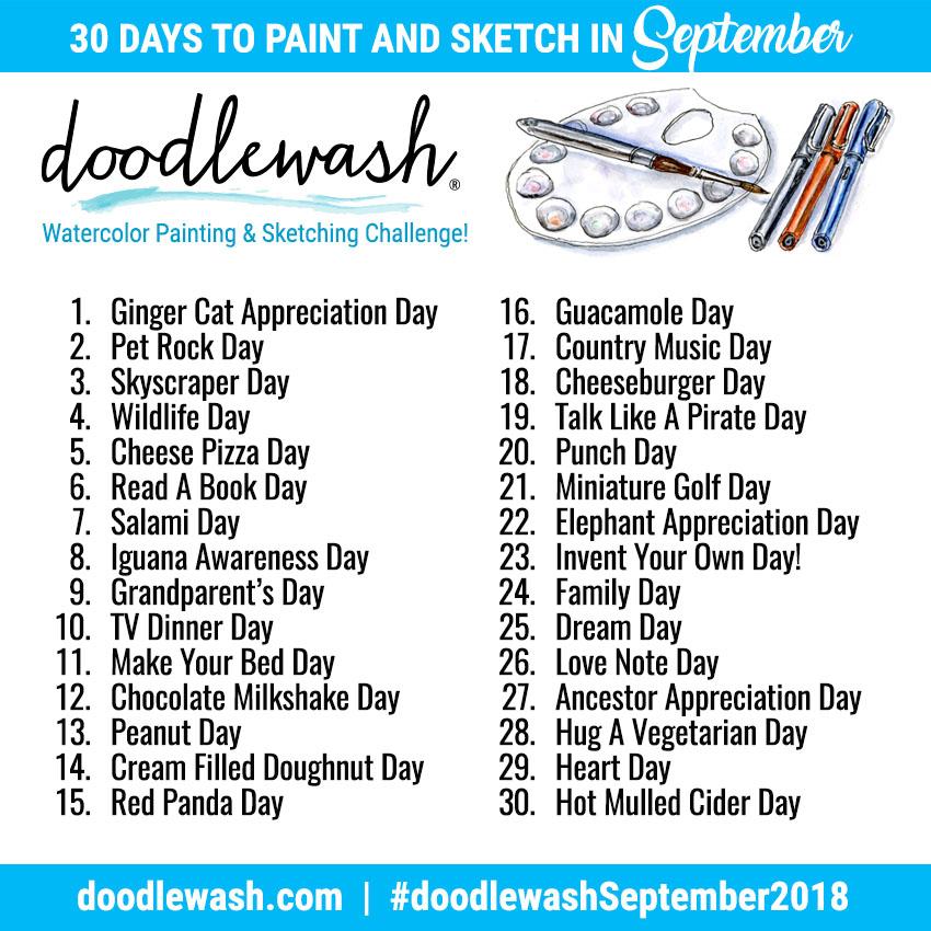 30 Jours d'Aquarelle en Septembre 2018 Doodlewash-September-2018-Adventure-Prompts
