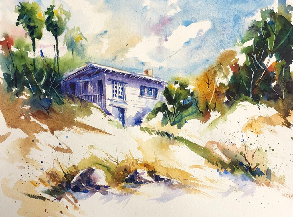 Watercolor Painting by Jim Huppenthal - House