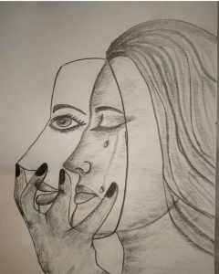 That's how many of us are these days…masked. A pencil sketch of a woman masked with a sm