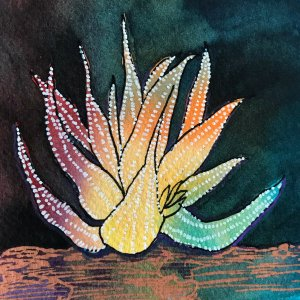 In this sketch I painted a wash of colors and let dry. I drew the cactus then layered with the darke