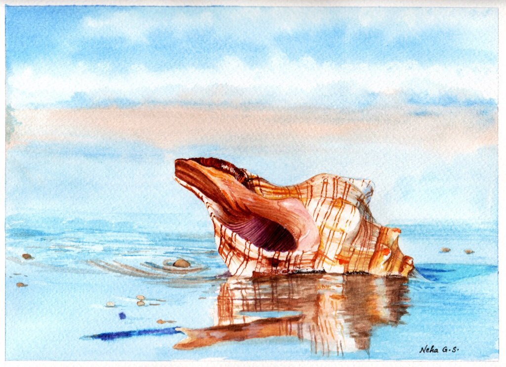Conch Shell Watercolor Painting by Neha Subramaniam - Doodlewash