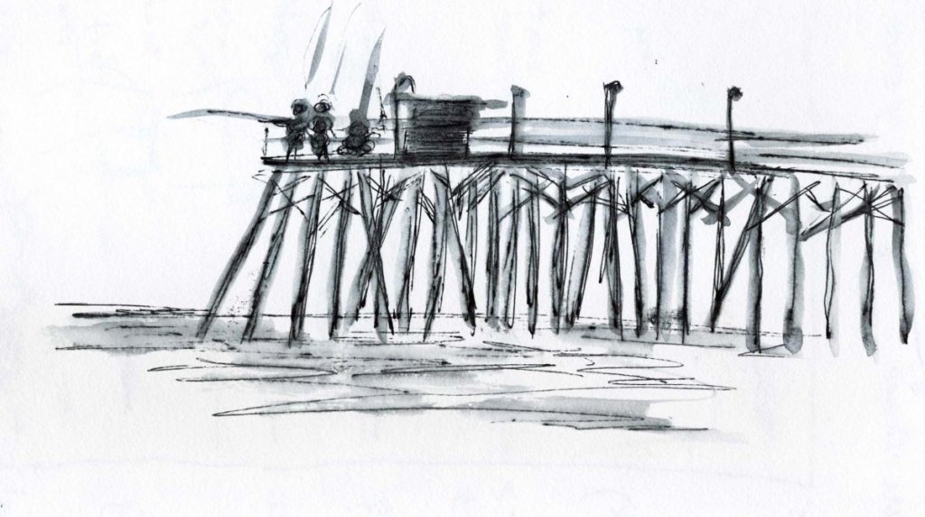 Fun time at the beach with a water soluble pen and water brush! Simple! beach girlKure Beach piersho