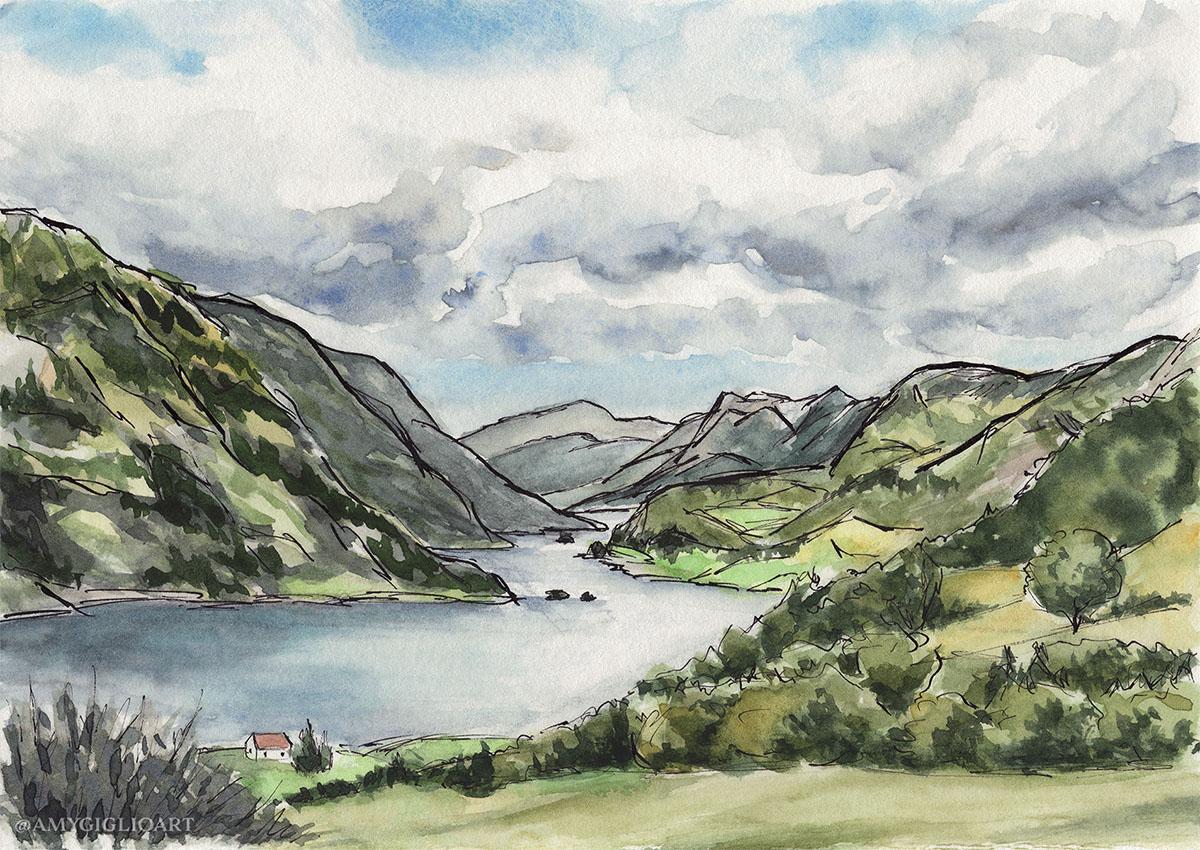 Norway Sketch Watercolor by Amy Giglio - Doodlewash