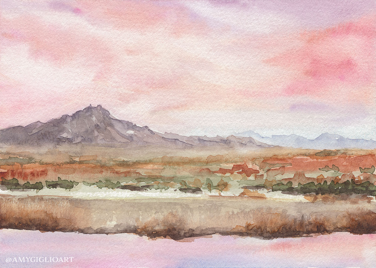 Pink Sky Watercolor by Amy Giglio - Doodlewash