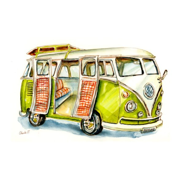 Vw Camper Van >> Doodlewash Vw Camper Van Dreams Watercolor Print