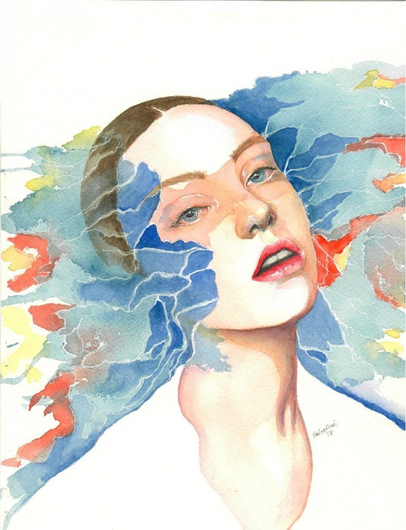 Blue And Orange Woman Watercolor by Bernadette Sabatini - Doodlewash
